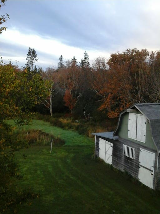 View of the barn from the upstairs bedroom.