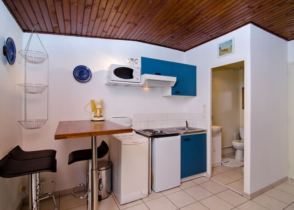 kitchen with all that you need (microwave, washing machine...)