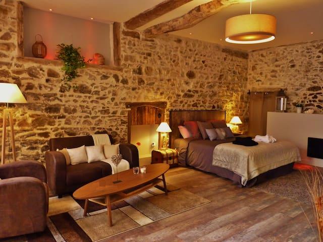 Suite romantique avec jacuzzi et sauna privatifs