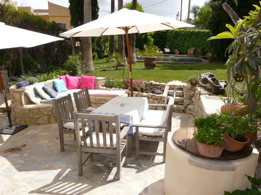 Outdoor dining-table and chillout area