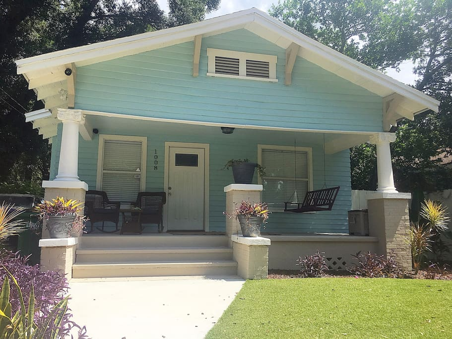 FRONT YARD: Classic Craftsman Bungalow construction. Charming 24' wide south facing front porch is perfect for coffee. You can often hear roosters calling in the early mornings.