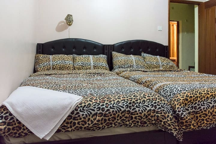 UPSTAIRS... Bedroom 3.... 2 double beds...  2x2=4..... 2x2 =4..... The space sharing Room.....