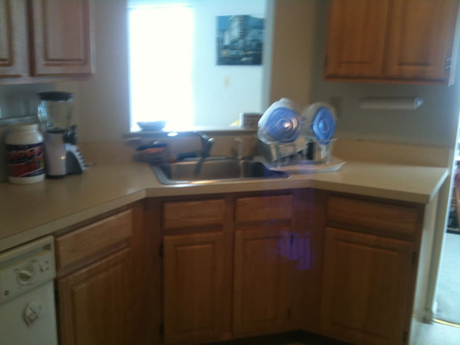 The kitchen.  It's a full kitchen:  Refrigerator, microwaves, stove, dishwasher. . .