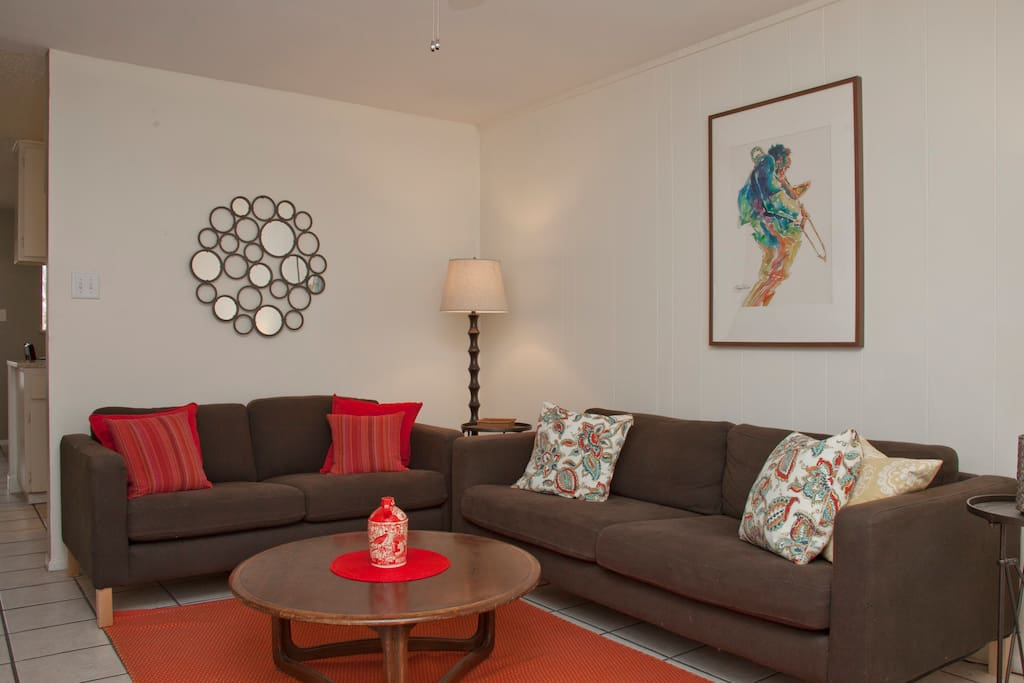 Living Room has a full sofa and loveseat