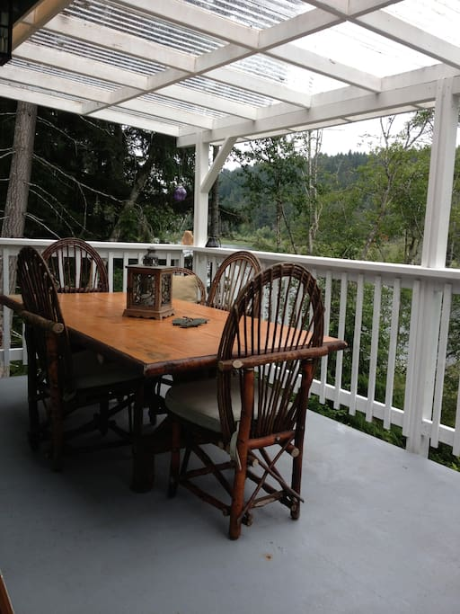 Bent willow deck furniture.