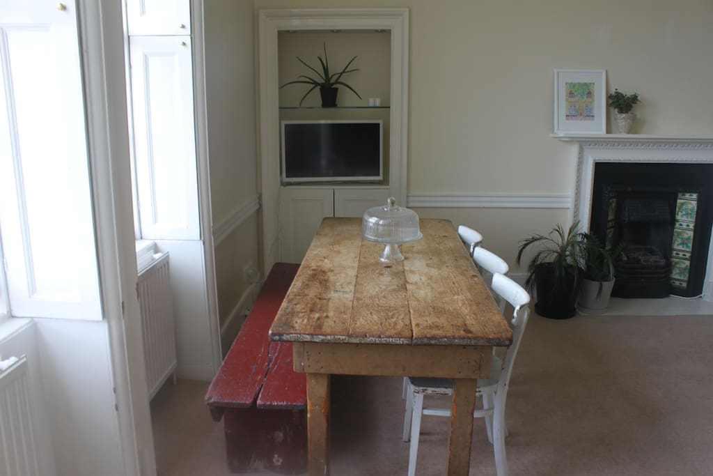 The family style dining table seats 6