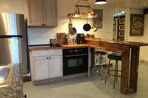 Kitchen fully stocked, including morning coffee grinds