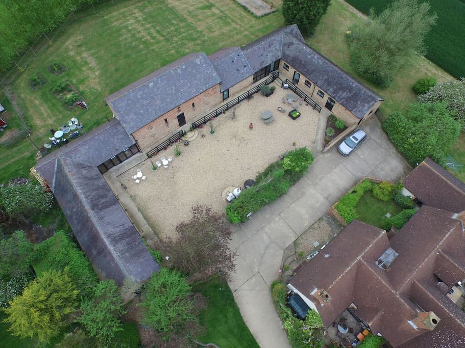 Aerial view. The Pond Studio is left hand bottom corner