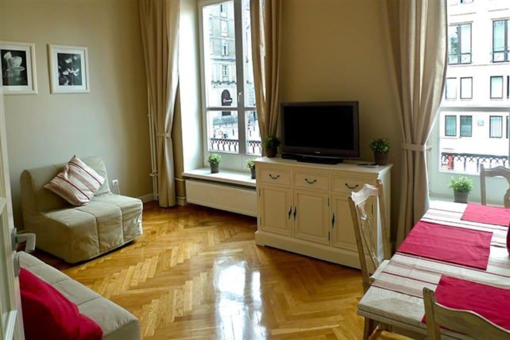 Salon, sofa 2 osobowa i 1osobowa - rozkładana
