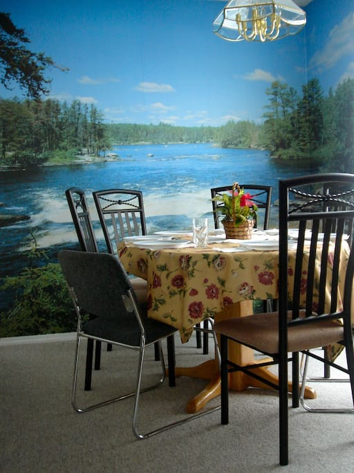 View of sunny breakfast table