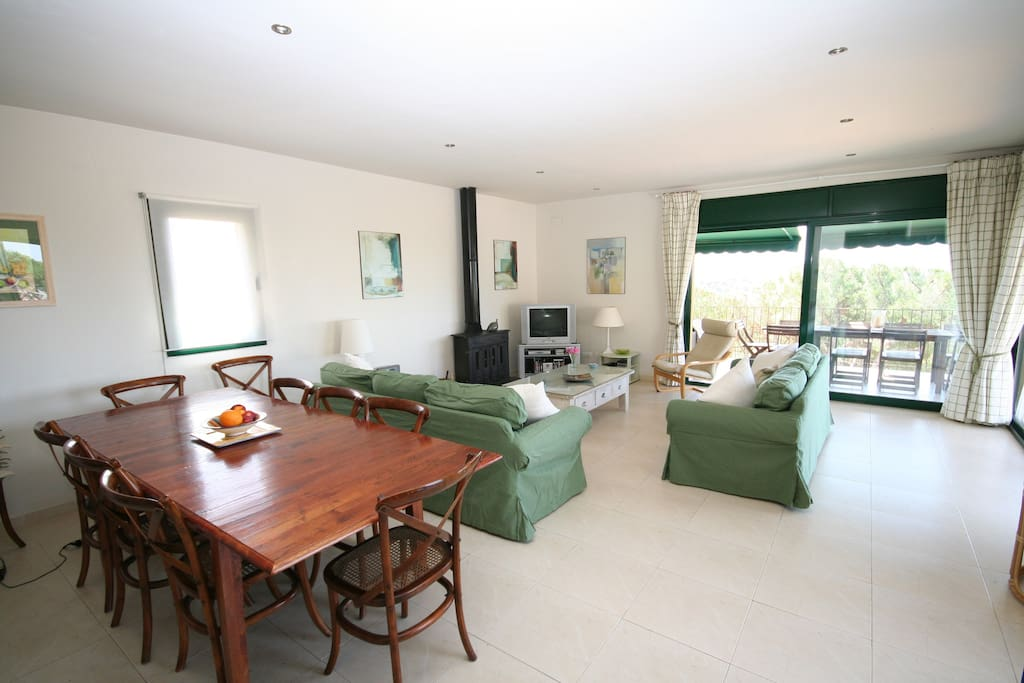 The air conditioned, light and spacious eating and living space leading out to the balcony with wonderful views (Satellite TV,  DVD, CD & WiFi  Internet)