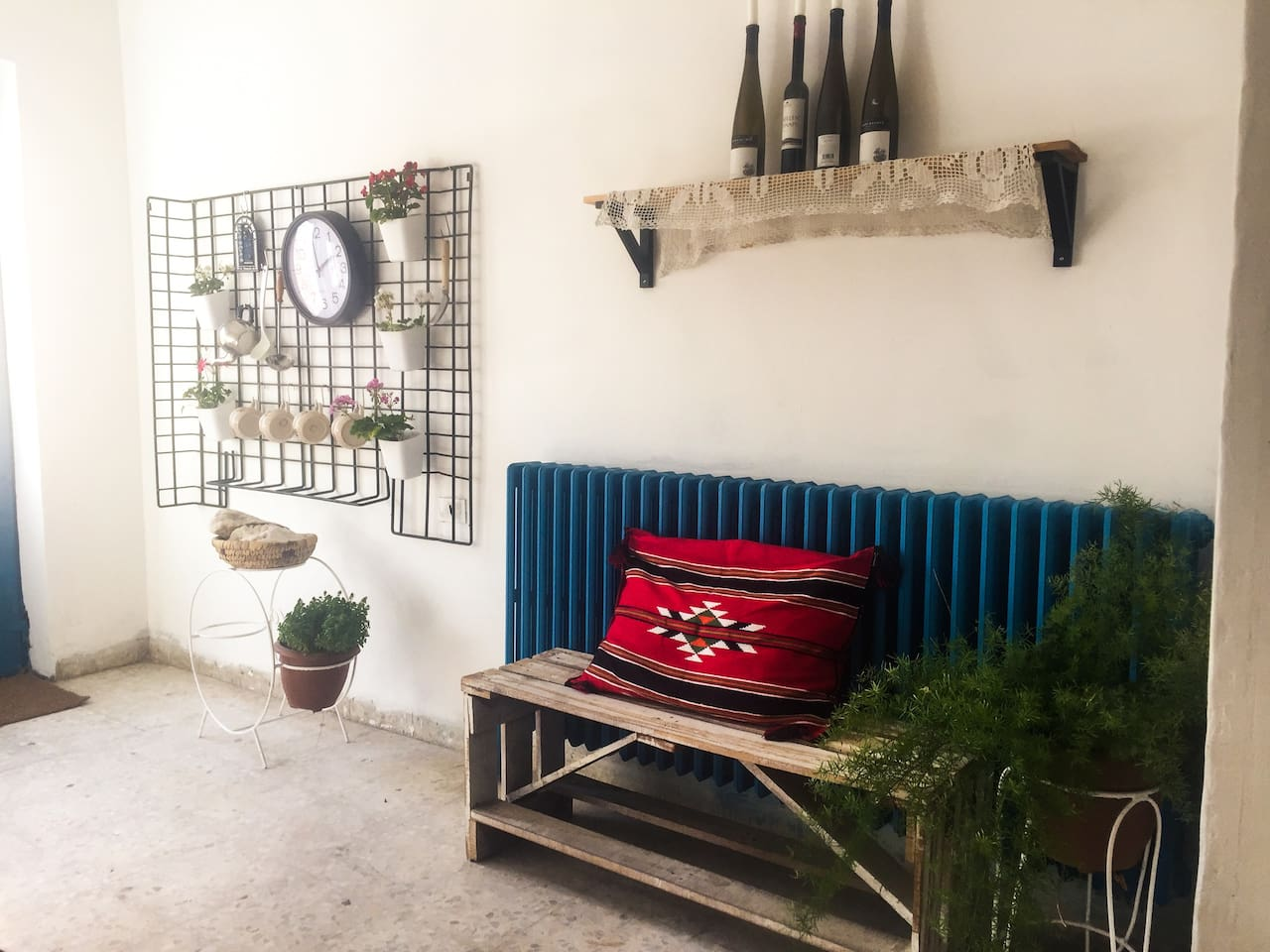 This apartment was part of a villa built in 1960 then converted to building in the 80's, I did the renovations my self, colors and mood are Mediterranean inspired, with a hint of Bedouin textiles.