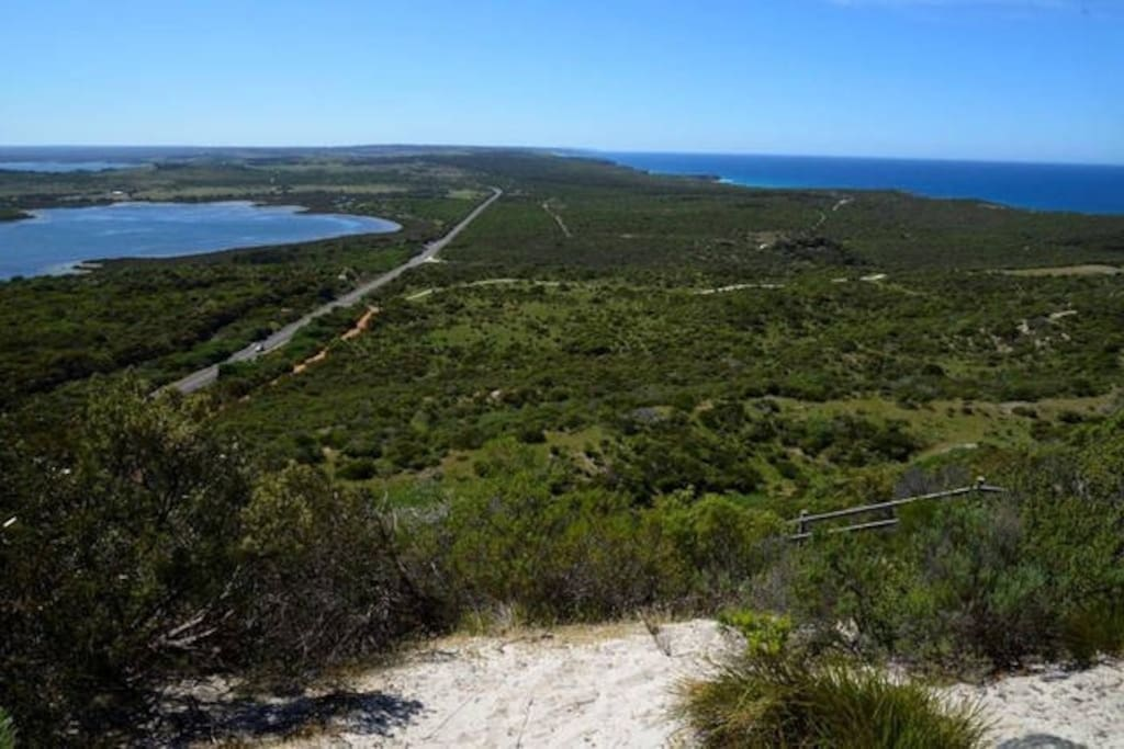 Pelican lagoon Lookout showing the lagoon and southern ocean view from lookout