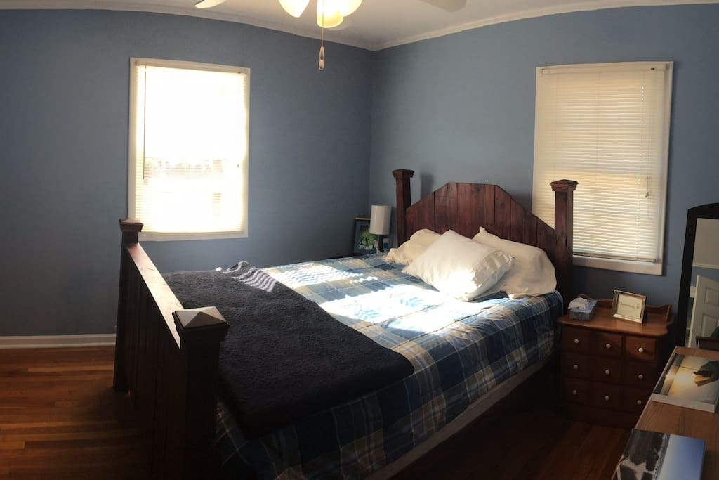 Private Guest room complete with handmade bed frame, closet, full length mirror, and plenty of drawers