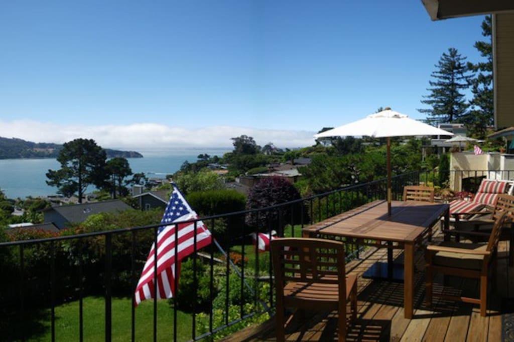sunny deck overlooking view