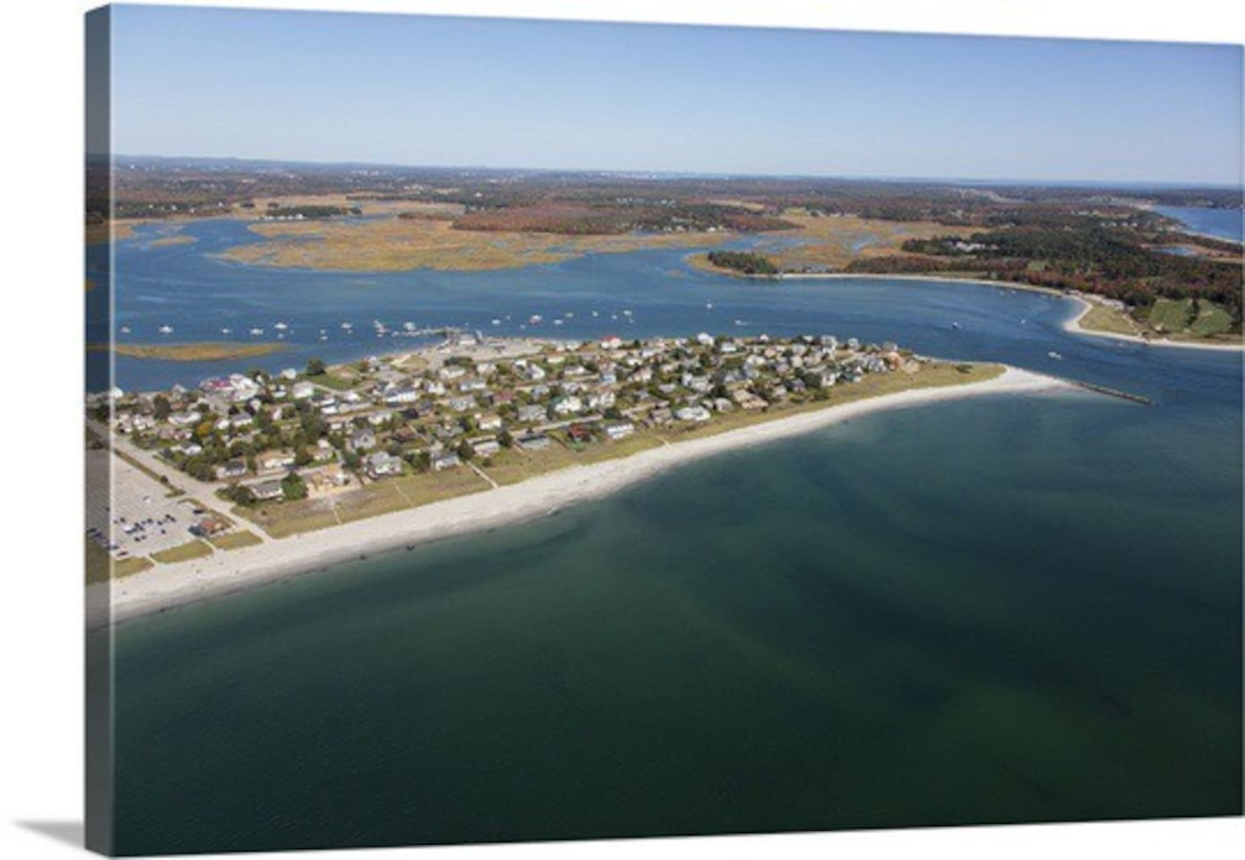 Aerial view of Grand beach, Pine Point.  It is a 2.5 mile round trip walk on the beach to the Jetty on the Point from the cottage.