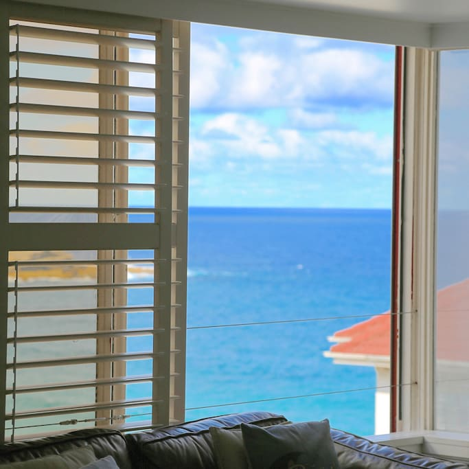 Ocean views from living and bed.