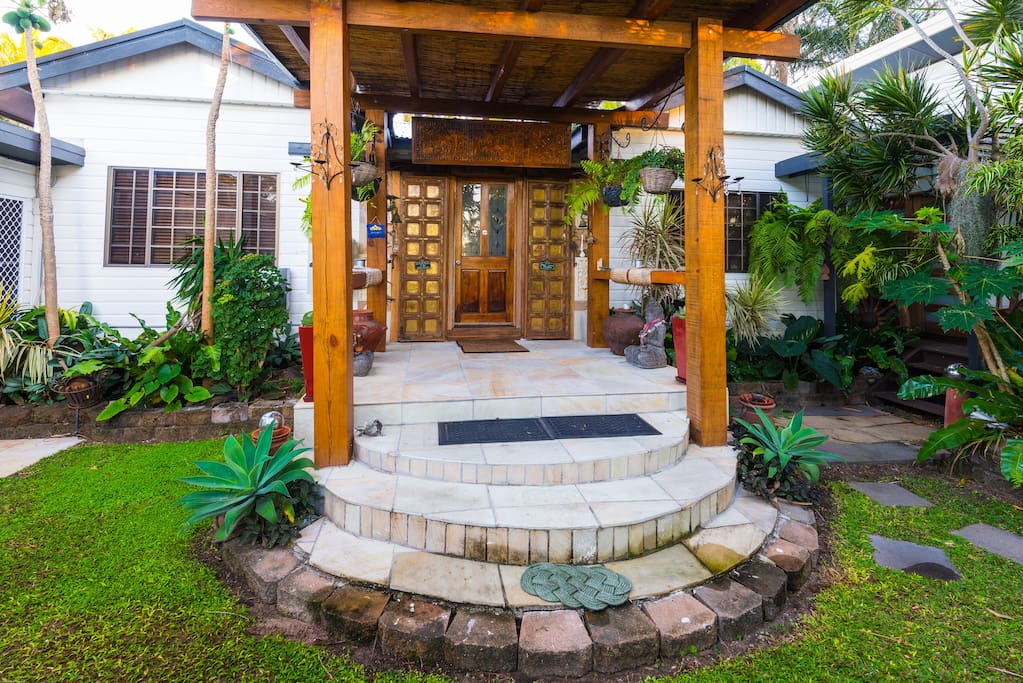 Come home to the Balinese inspired entrance and property