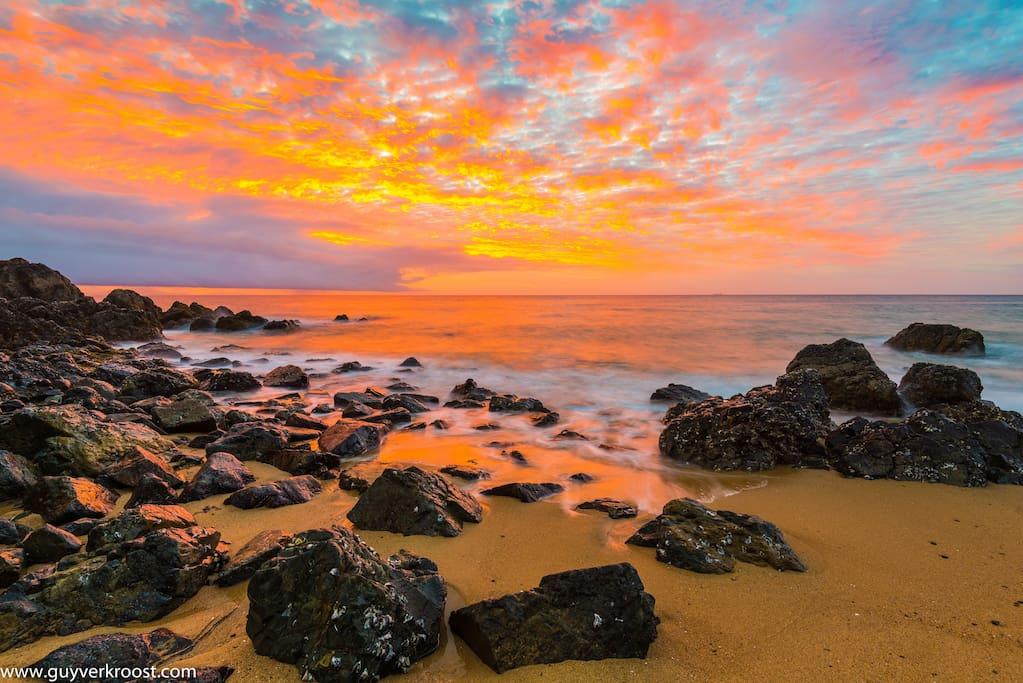 Sunrise at the local beach-a short stroll.