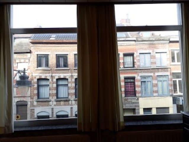 Windows with blackout curtains