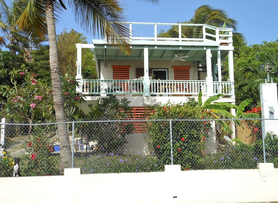 Front of the house. The Main House is the top level and roof deck.
