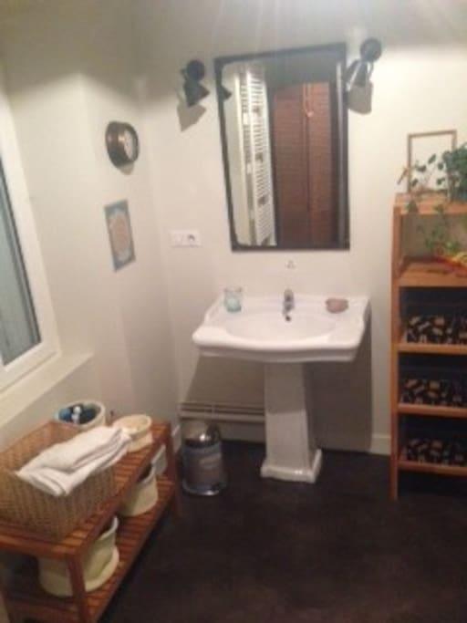 Salle de bain privative une vasque.
