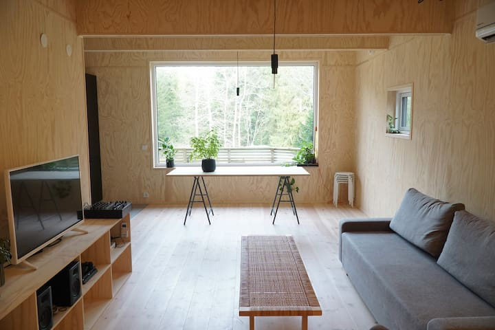 Modern cabin located in the heart of nature