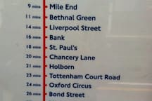 Timings from our local station.  The Central Line is very reliable and runs right through the heart of London