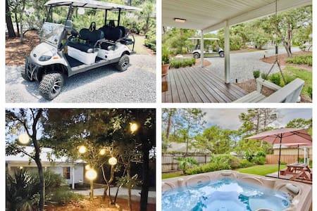 30a Cottage: 3 Bed 2 Bath + Golf Cart & Hot Tub!