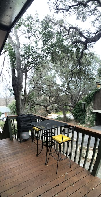 Eat your meals on the deck, fire up the grill or just relax under the shade of the heritage oaks.