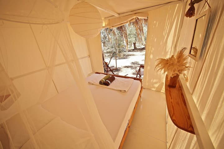 Cool canvas tents with bedsteads - Assos