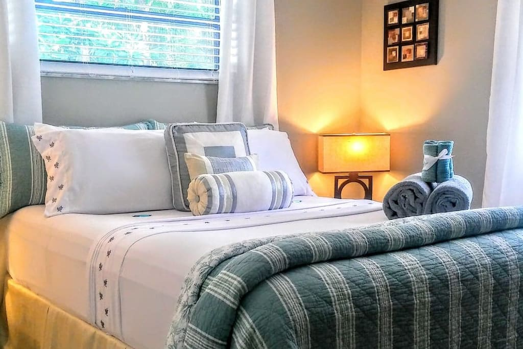 Very Clean Comfortable Linens & Bed waiting for you to arrive.