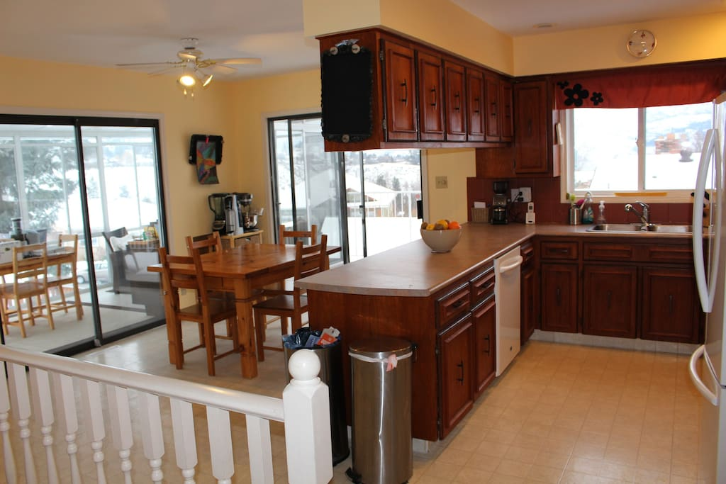 Full kitchen with all the amenities and two large decks along house.