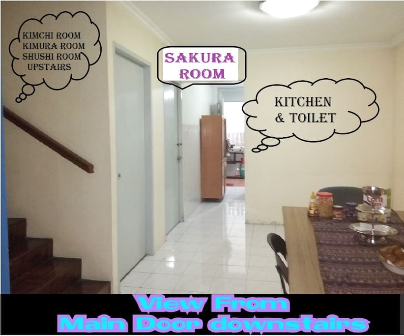 SAKURA ROOM is your room. near to kitchen & you have your own toilet outside the room