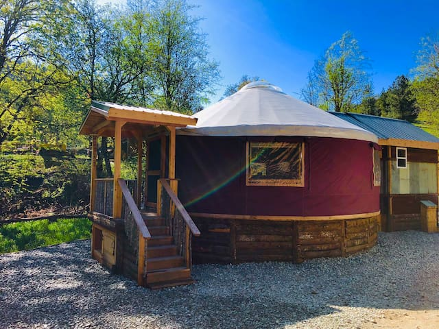 24' Yurt with a Tiny House attached  Off Grid solar and propane powered Glamping with all the comforts of a 5 Star Hotel