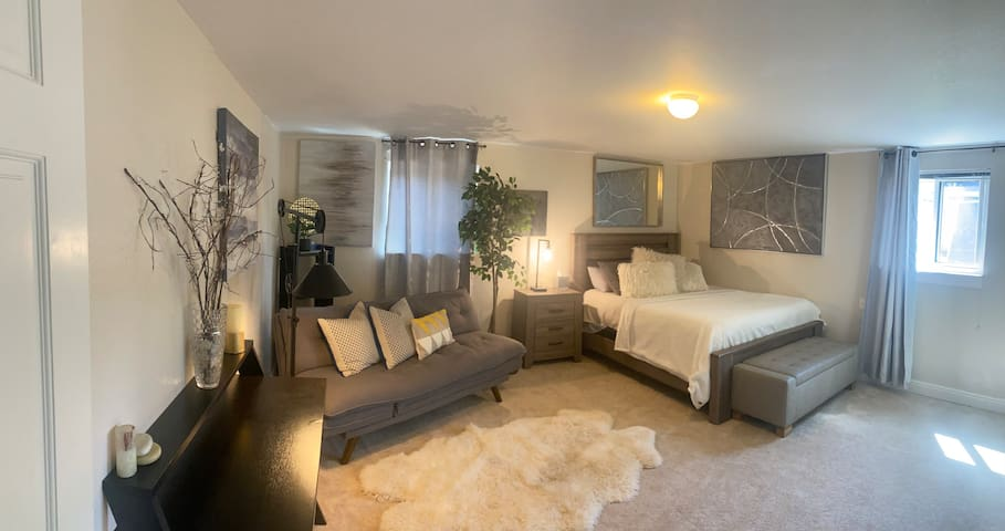 Large private bedroom with a queen bed and a pull out sofa. Private bathroom attached. Game room and breakfast/coffee included