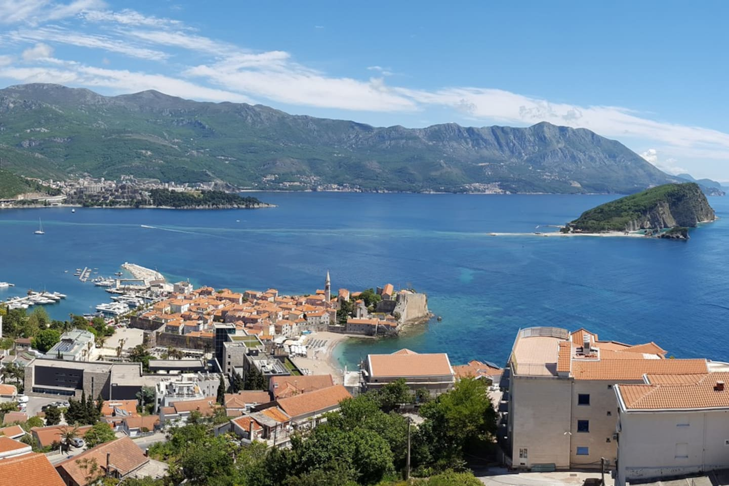 View of Budva's old town and harbour