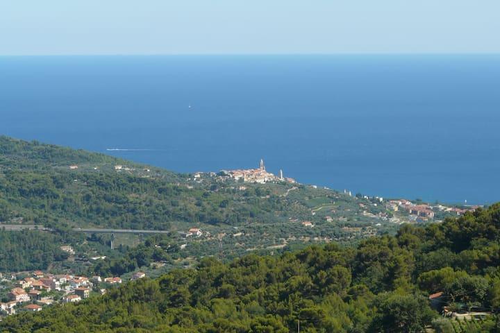 Giardino vista mare,  idromassaggio esterno - Diano San Pietro - Leilighet