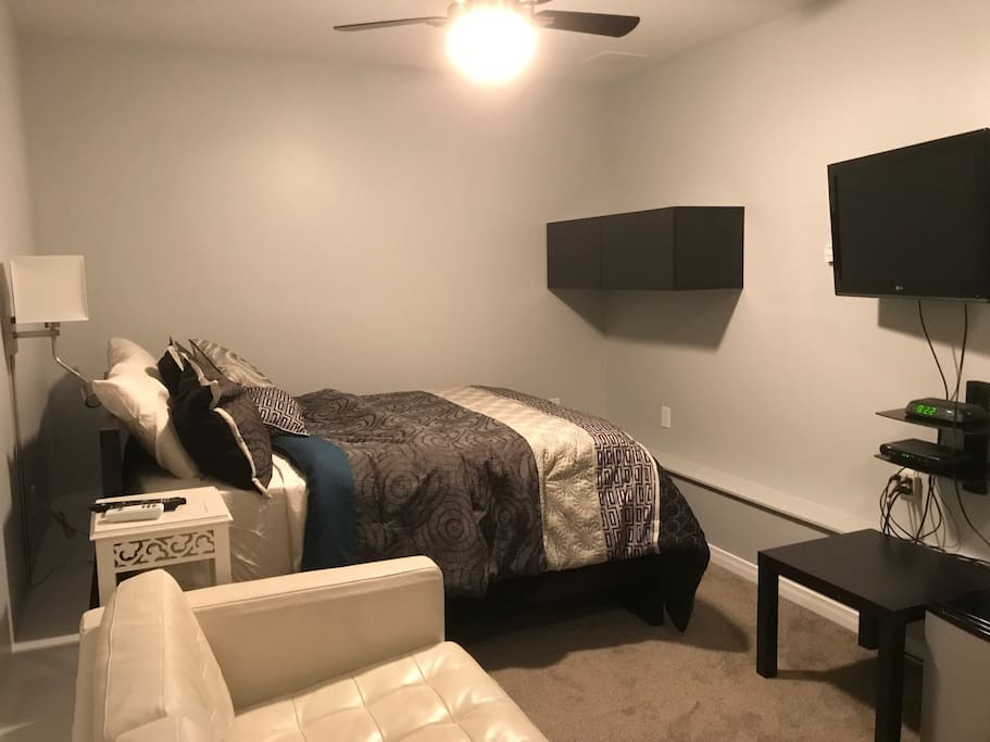 Double bed and cable TV