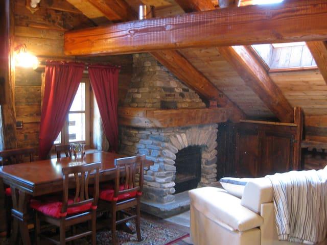 Stone fireplace antique wood interior