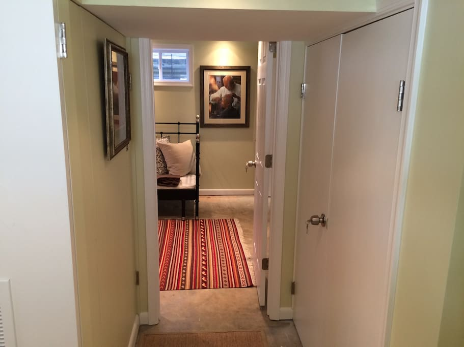 Private entrance, the door to the right leads into the laundry room
