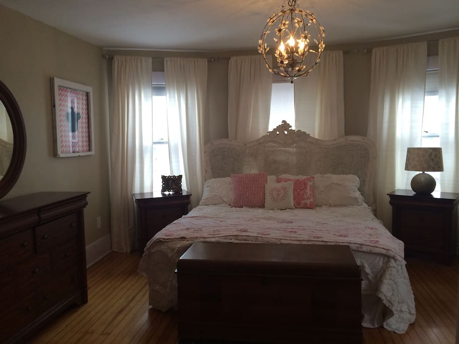 The master bedroom has a tempurpedic king sized bed with adjustable foot and head with remotes.