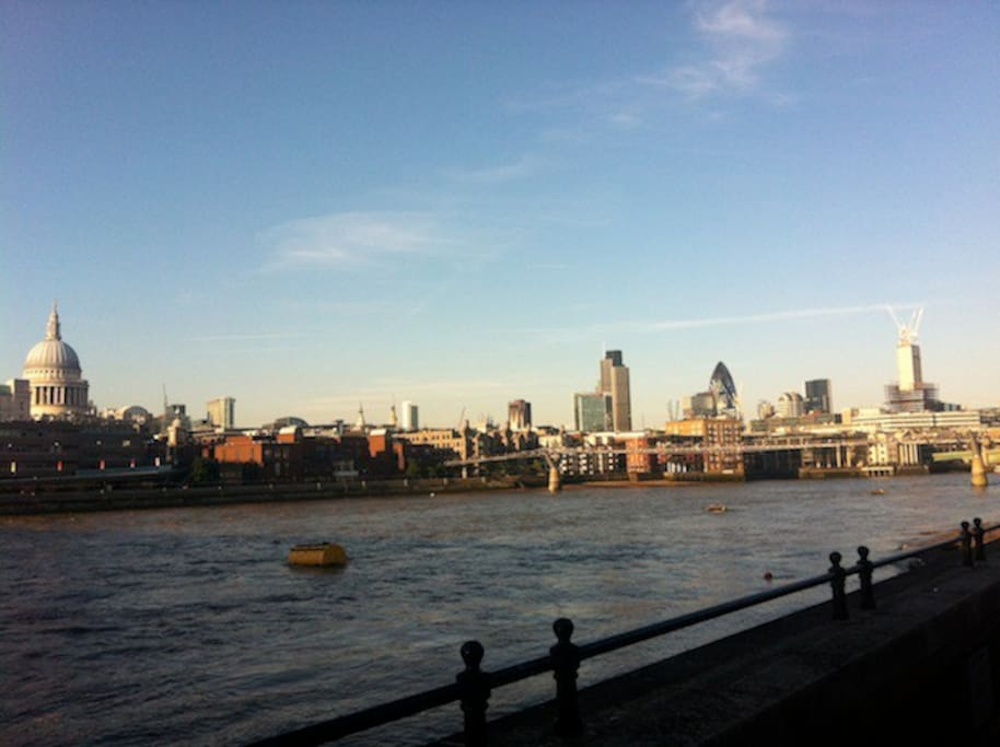 View of the Thames, St Paul's, and City from SouthBank.