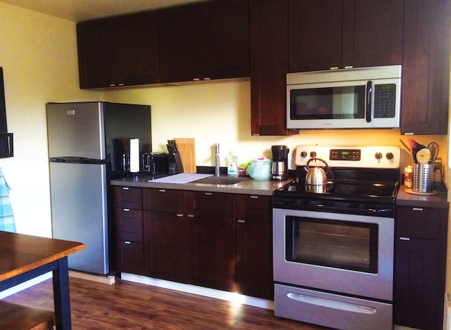 Apt w/kitchen & deck 1.5 blocks from light rail