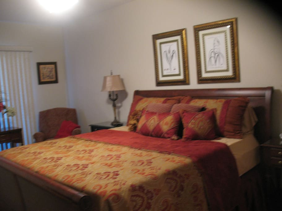 Master bedroom features a king size bed, walk in closet and a triple dresser