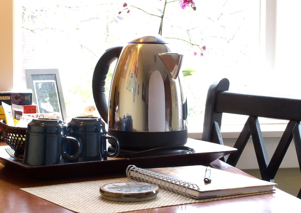 An electric tea kettle, so you don't have to head downstairs for hot water.