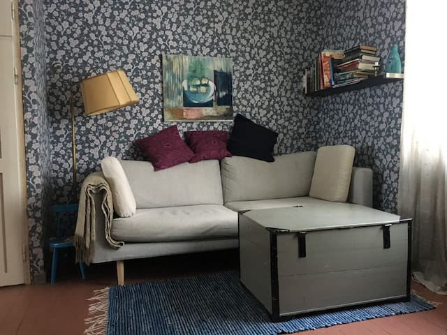 Living-room: You can sleep on the sofa or have a mattress on the floor.