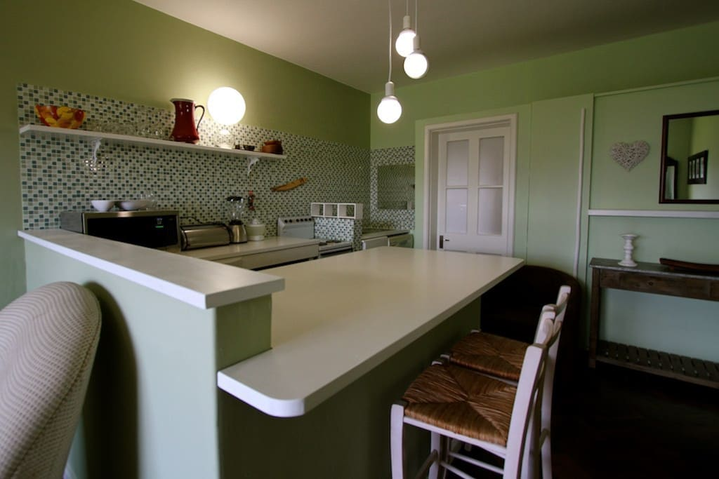 Equipped kitchen with breakfast counter.