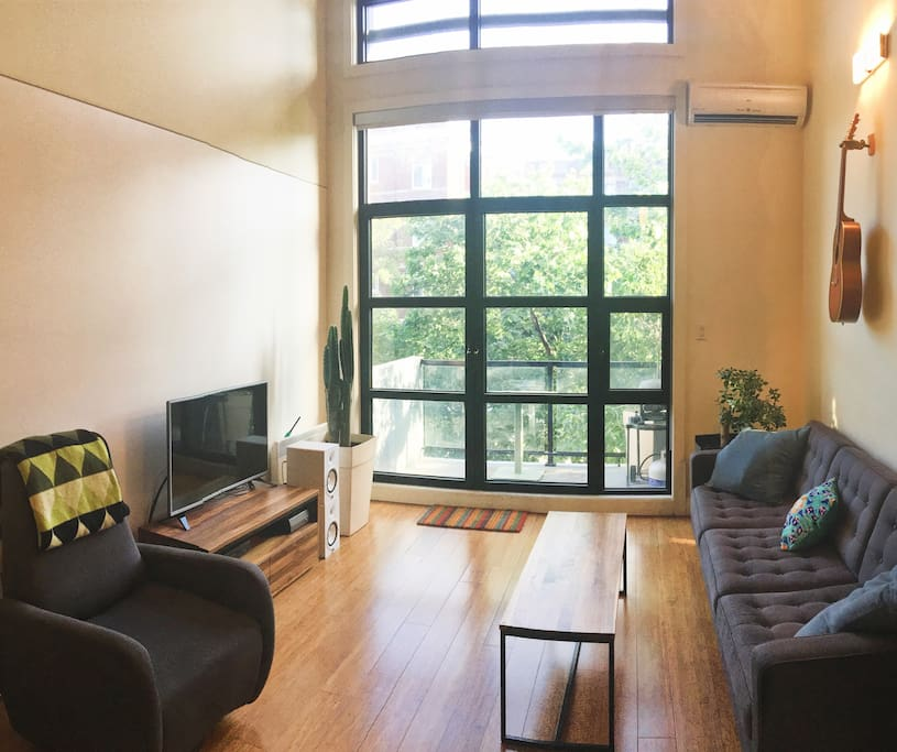 Loft style apartment with 16 ft. high ceilings