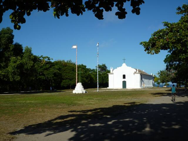 the view of the Quadrado and the church as you exit the property